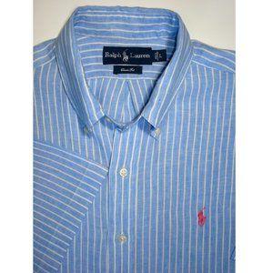 POLO RL 100% Linen Blue, White Stripe S/S Shirt